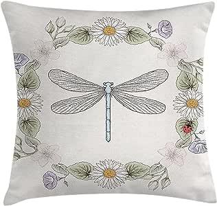 蜻蜓抱枕靠垫套 ambesonne grunge 风格设计花朵树叶和 BUGS 苍蝇翅膀图像装饰方形 Accent 枕套淡粉色*红色和蓝色