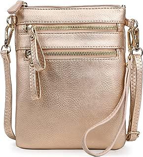 Solene 女士仿皮整理袋多拉链口袋手提包带可拆卸腕包斜挎包