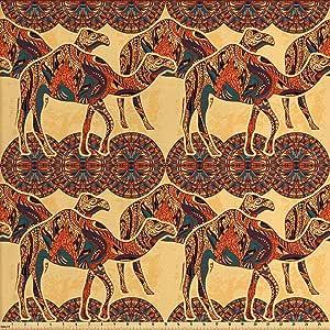 Lunarable Tribal Fabric by The Yard, 非洲骆驼动物和东方阿拉伯装饰品叶氯文化图像,室内装饰和家庭装饰的装饰织物,黄色橙色
