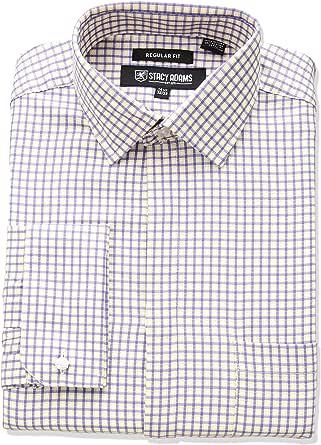 """STACY ADAMS 男士粗体格经典修身衬衫 紫色 14.5"""" Neck 32-33"""" Sleeve"""