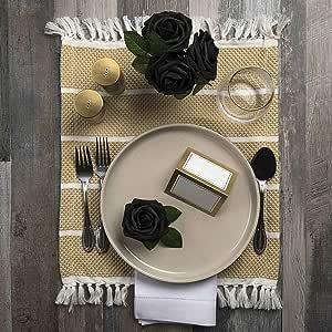 精品花束 人造花 - 25 包 - 带茎的假玫瑰装饰家居装饰、*装饰、婚礼安排、新娘送礼派对装饰 - 20 种新鲜装饰颜色可供选择 黑色 25 Roses
