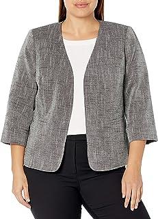 Kasper 女式加大码交叉染亚麻混纺开口夹克带袖口
