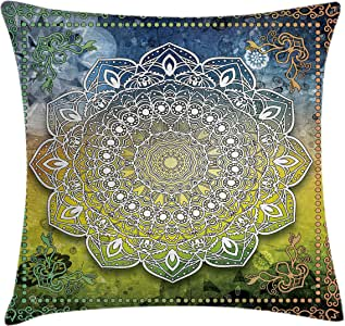 Bohemian Throw Pillow Cushion Cover by Ambesonne, Mystic Asian Mandala Zen Culture Chakra Karma Calmness and Harmony Icon Boho Design, Decorative Square Accent Pillow Case, 24 X 24 Inches, Multicolor