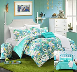 Chic Home 10 Piece Princess Paisley and Polka Dot printed REVERSIBLE Comforter Set, Includes Sheets, Duffle Hamper and Fleece Throw 浅绿色 全部