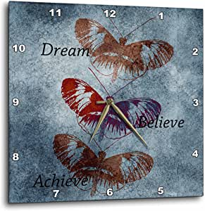 3dRose dpp_79335_1 Inspired Butterflies Dream, Believe and Achieve Motivational Art Wall Clock, 10 by 10-Inch