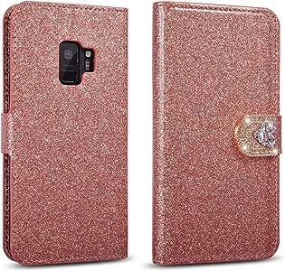 Bling Love 带扣翻盖钱包光滑表面手机壳适用于三星 Galaxy S9 Plus 玫瑰金