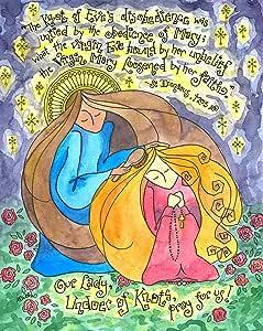 Dovetail Ink Our Lady Undoer of Knots - 天主教艺术印刷品 - 玛丽梳发女孩的* - 送给上女儿的礼物,确认 红色* 8x10 Inches
