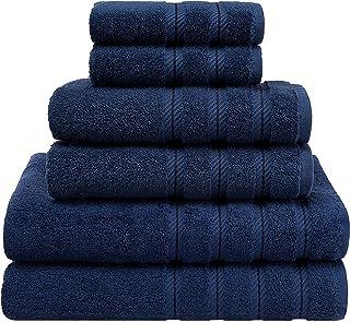 优质土耳其毛巾套装,奢华酒店和水疗毛巾套装,*大限度地提高柔软度和吸水性 *蓝_蓝色 6-Piece Towel Set