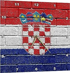 3dRose National Flag of Croatia Painted Onto a Brick Wall Croatian - Wall Clock, 13 by 13-Inch (dpp_155212_2)