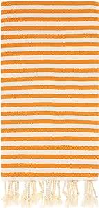 Cacala Zebra 系列 - 土耳其浴巾 - 传统Peshtemal 设计,适用于浴室、海滩、桑拿 - * 天然棉,超柔软,快干, 橙色