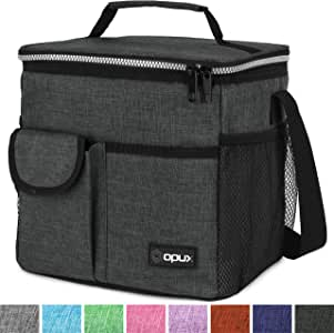 OPUX 优质保温午餐袋带肩带,男式、女式、儿童午餐盒 - 柔软防漏内衬带口袋 - 中中午午餐冷却器,工作,适合 6 罐 炭黑色 高