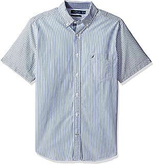 Nautica 男士短袖經典修身垂直條紋系扣襯衫