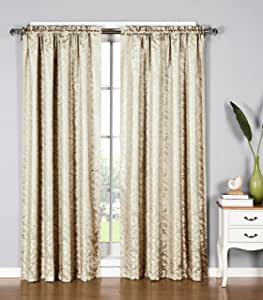 Window Elements Dawson Shimmering Leaf Extra Wide 54 x 84 in. Rod Pocket Curtain Panel, Ivory