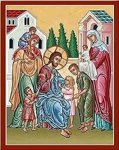 """修道院图标耶稣基督和儿童挂牌图标复制品 全彩 7.8"""" x 10"""" unknown"""