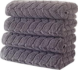 Bagno Milano 提花豪华土耳其毛巾,* 土耳其棉,速干超柔软,吸水毛绒毛巾,土耳其制造 灰色 4 Pcs Hand Towel Set