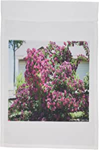 Jos fauxtographee realistic – A beautiful 粉红色攀岩玫瑰 BUSH IN someones 前 YARD with 吨 OF 可爱花朵 – 旗帜 12 x 18 inch Garden Flag