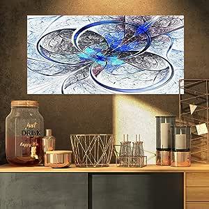 """Designart 对称蓝色不规则花卉数字艺术油画印刷品 32x16"""" PT7250-32-16"""