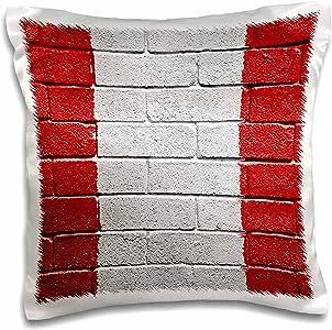 3drose carsten reisinger illustrations 插图–国旗 OF 秘鲁彩绘 onto A 砖墙秘鲁–枕套