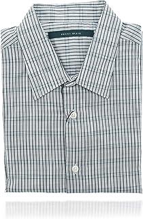 Perry Ellis 男式 Collard 系扣短袖设计师衬衫(M 码)白色和蓝色