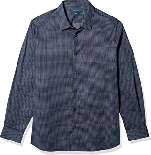 Perry Ellis 男式彩色仪表板印花长袖系扣弹力衬衫,带领托