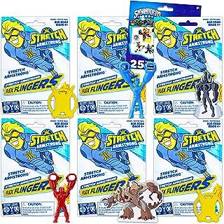 Stretch Armstrong 和 Flex Fighters 派对礼品包 ~ 6 Ct Flex Flingers 具有伸展臂强度和*质量附赠纹身(*英雄派对用品包)