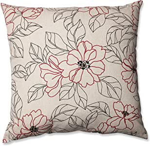 Pillow Perfect 花卉装饰方形投掷枕头 Red/Beige 24.5-inch Floor Pillow 442051