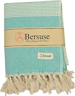 Bersuse * 纯棉 - Hierapolis XL 毯子土耳其毛巾 Pestemal - 沙滩围巾 - 床上用品或沙发,桌布或野餐垫 - Handloom 钻石 - 152.4x238.76 厘米,父母 薄荷绿 60X95 Inches HIERAPOLIS_BLAN_MI