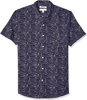 亚马逊品牌 - 亚马逊品牌 - GoodThread男士修身短袖亚麻和棉混纺衬衫