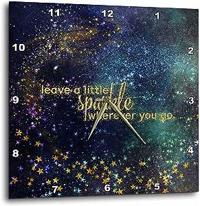 3D Rose 夜间排版星闪光闪耀挂钟,38.10 x 38.10 cm,金色