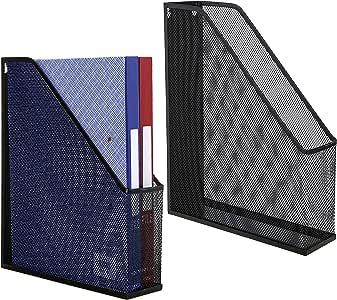 MyGift 金属网状杂志架,桌面文件存储收纳架,黑色 2 racks. M TB-OFC0174BLK-2