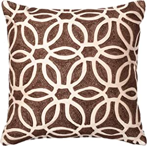 "POLY SET Loloi PSETP0135BRBEPIL1 Cover with Poly Fill Decorative Accent Pillow, 18"" x 18"", Brown/Beige"