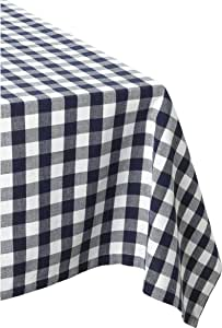 """DII 100% Cotton, Machine Washable, Dinner, Summer & Picnic Tablecloth 60 x 84"""", Nautical Blue Check, Seats 6 to 8 People"""
