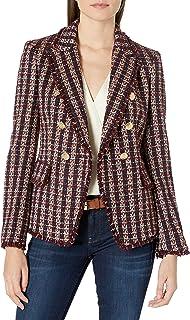 Tahari ASL 女式金属仿羔皮双排扣夹克