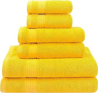 优质奢华酒店 & Spa,土耳其毛巾 * 纯棉毛巾 6 件套,柔软舒适,吸水性强,美国老兽毛巾 黄色 Towel Set - 6 Pack