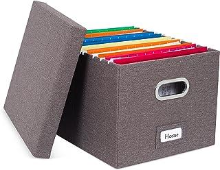 Internet's Best 可折叠文件收纳盒 - 装饰性亚麻文件收纳盒 - 信件/法律文档 1包 灰色
