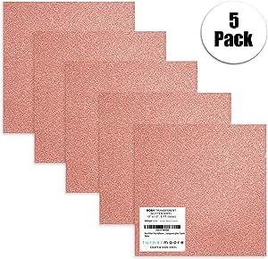 Rosy 粉红色闪光乙烯基胶张30.5x 30.5cm   5-pack 工艺乙烯基 sheets   cricut Expression EXPLORE ,轮廓,标志,剪贴簿, styletech 贴(玫瑰透明闪光5件装)