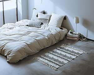 OJIA 双面北欧斯莱雅流苏棉地毯,手工编织纯色垫带卧室、客厅、厨房、洗衣房进廊或沙发毯 - 60.96 x 91.44 厘米