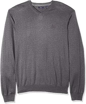 IZOD Men's Long Sleeve Essential Solid V-Neck Sweater