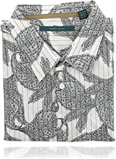 Perry Ellis 男式 Collard 系扣短袖设计师衬衫 (XXL) 白色