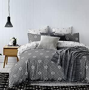 亚麻枕套80x 80白色灰色无*煤石墨钢几何图案床上用品超细纤维床上用品套装白色灰色无*煤钢 hypnosis 系列 snowy NIGHT