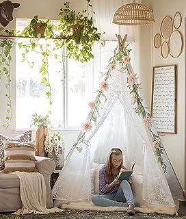 Tiny Land 豪华蕾丝 Teepee 帐篷 适合女孩和成人(XXL 码 7 英尺高)5 杆蕾丝蓬蓬蓬适合室内和室外使用 — 婚礼、生日、波西米亚装饰品 — 摄影道具