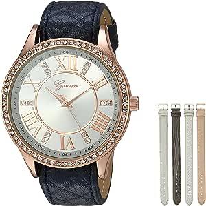 Geneva 女式石英金属和聚氨酯手表,颜色:蓝色(型号:AM1659RG438-103)