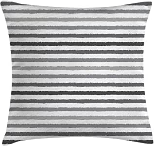 Striped Throw Pillow Cushion Cover by Ambesonne, Gray and White Stripes Monochrome Tone Brush Style Lines Grunge Retro Digital Print, Decorative Square Accent Pillow Case, 18 X18 Inches, White Grey