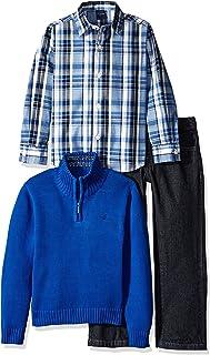 Nautica 男童三件套装带梭织衬衫半拉链毛衣和裤子