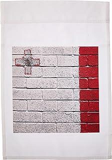 carsten reisinger illustrations 插图–国旗 OF malta 彩绘 onto A 砖墙 maltese–旗帜 12 x 18 inch Garden Flag