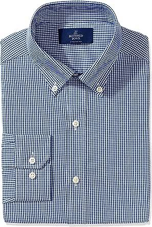 Buttoned Down 男式衬衫 带领尖纽扣 合身礼服衬衫 免烫 黑色小方格条纹设计