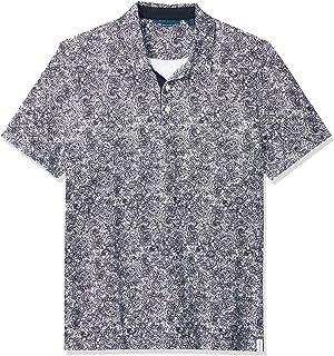 Perry Ellis 男士比马棉涡纹花纹印花短袖 Polo 衫