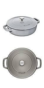STAUB Chisera Braiser, grey, 24cm