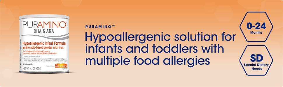 Hypoallergenic solution for infants and toddlers with multiple food allergies
