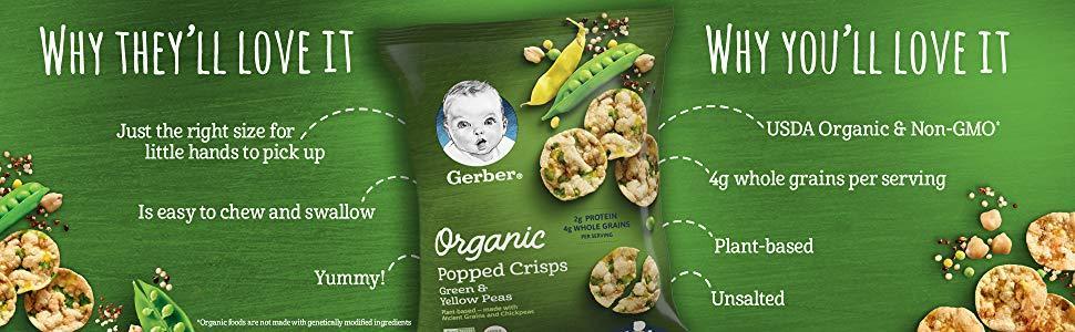 Popped crisps. Quinoa snack.  Lentil snack. Plant-based protein snack. Organic toddler snacks.